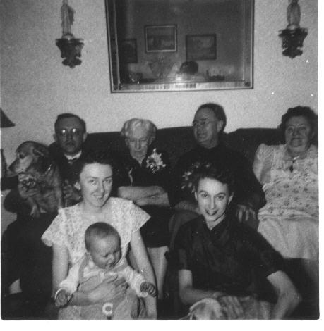 4 generations of Duntemanns: Martha Winkelmann Duntemann, Harry G Duntemann (her son) Frank W. Duntemann (his son) and Jeff Duntemann (infant.) Photo taken in 1953.