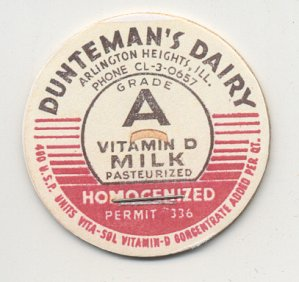 Lenard Barney Dunteman established a dairy in Arlington Heights, Illinois (northwest of Chicago) in 1932, and operated it until 1958. This is the cap the dairy used on their bottles of whole milk in the mid-1950s.