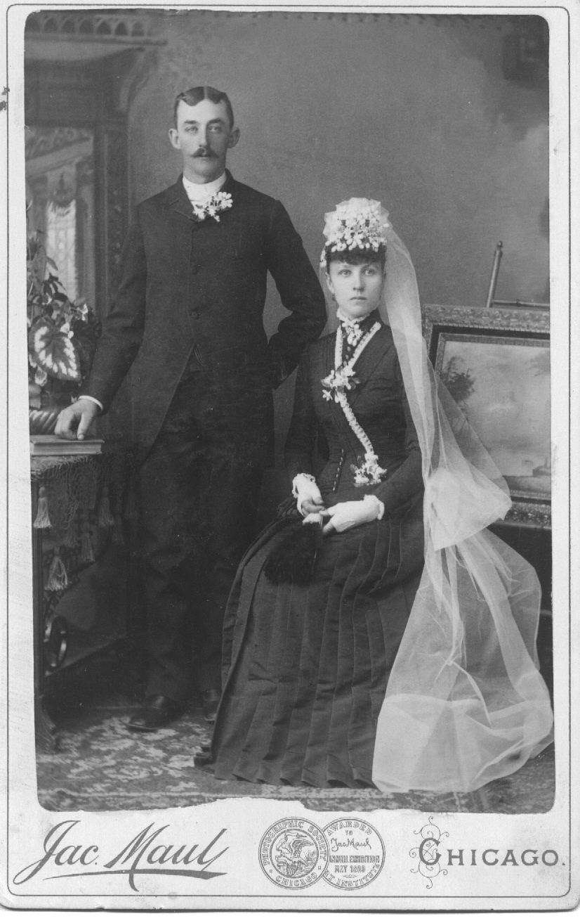 Ella Duntemann Henges (1865-1949) and Fred Henges (1863-1949) at their wedding, date unknown, probably 1889 or early 1890.