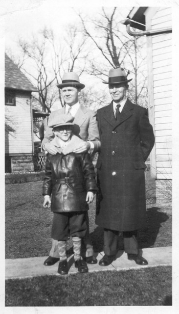 3 generations of Duntemanns in 1933: Frank W. (1867-1937) in dark coat, his son Harry G. (1892-1956) and Harry's son Frank W. (1922-1978).