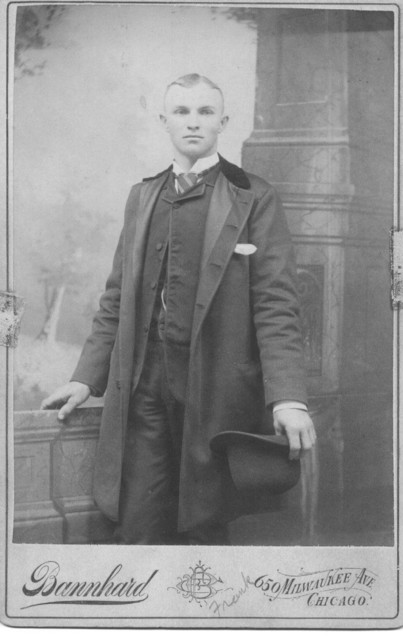 Frank W. Duntemann (1867-1936) as a young man, date unknown, probably mid-1880s.