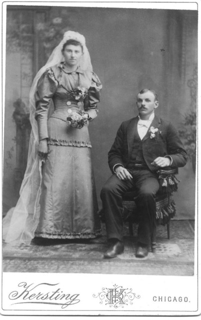 George Dunteman (1869-1932) and Bertha Wischsdadt Dunteman (1869-1951) at their wedding in 1893. George sat for the photo because Bertha was taller than he.