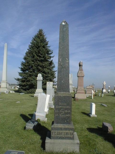 Obelisk monument for Heinrich Duntemann and Dorothea Banger Duntemann at Old St. John's Cemetery.