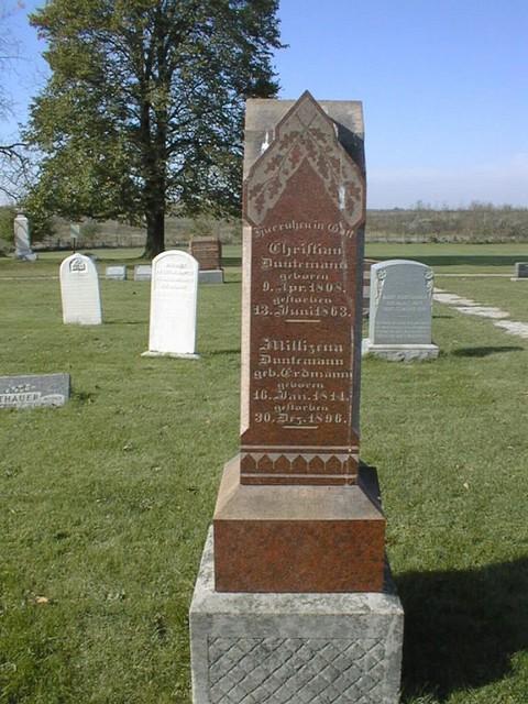 Headstone of Johann Karl Christian Duntemann (1808-1863) and Millizena Erdmann Duntemann (1814-1896) at Old St. John's.