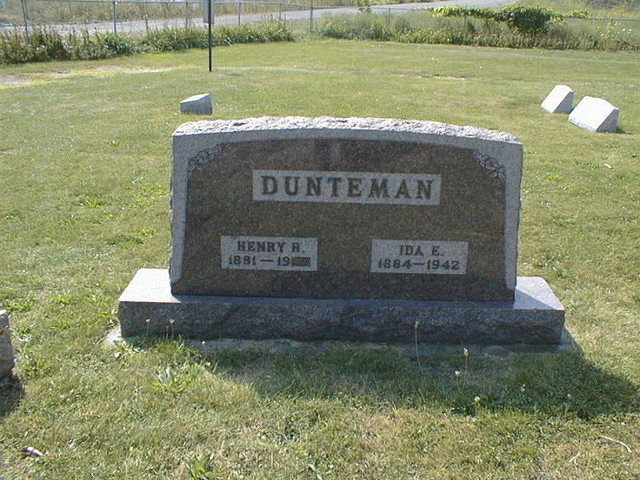 Headstone for Henry and Ida Duntemann at Old St. John's Cemetery. No one is under the stone now; Henry moved Ida in the early 1950s and he himself is buried elsewhere.