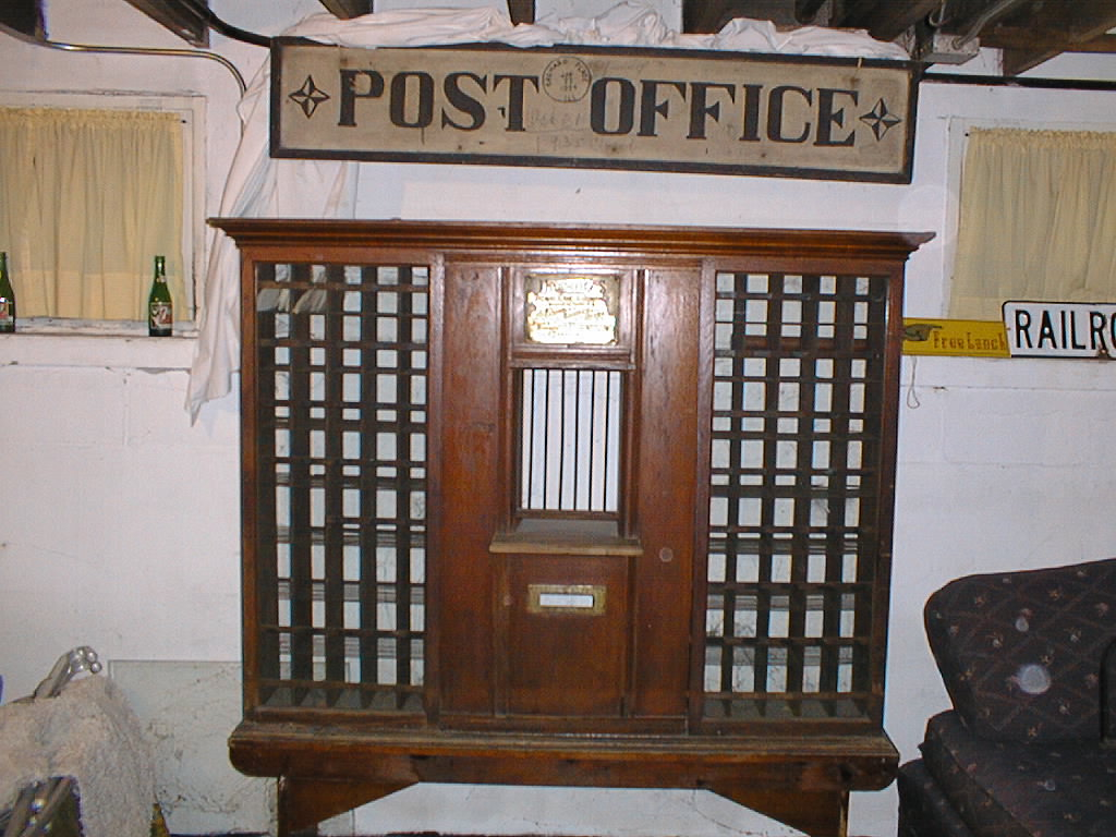 The Orchard Place post office sorting bins, once part of the post office operated by Frank W. Duntemann (1867-1936) in his general store in Orchard Place, IL.
