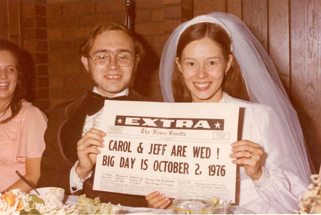 October 1976: At the wedding head table