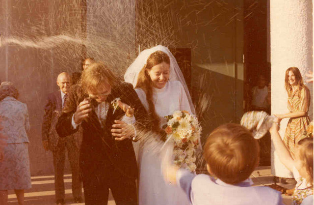 October 1976: After wedding mass comes the rice
