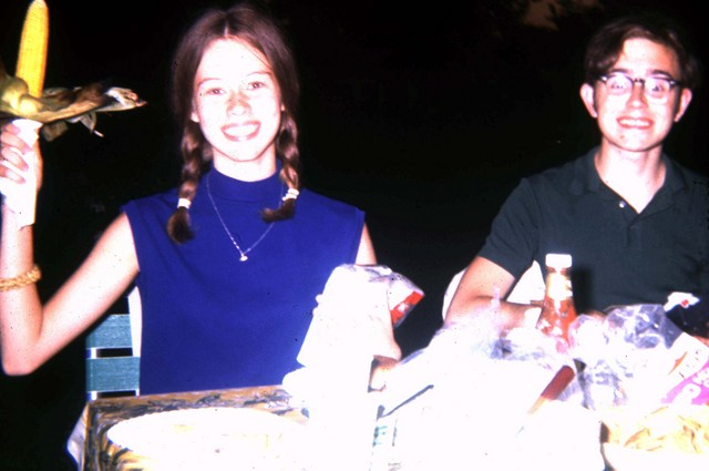 August 1969: The earliest photo we have of the two of us together, at the annual corn roast in Third Lake, Illinois. We had met about three weeks earlier.