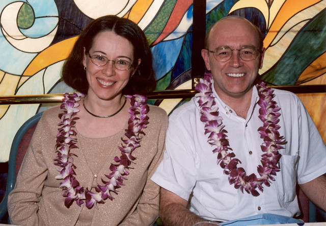 November 2004: At dinner on a cruise to Hawaii