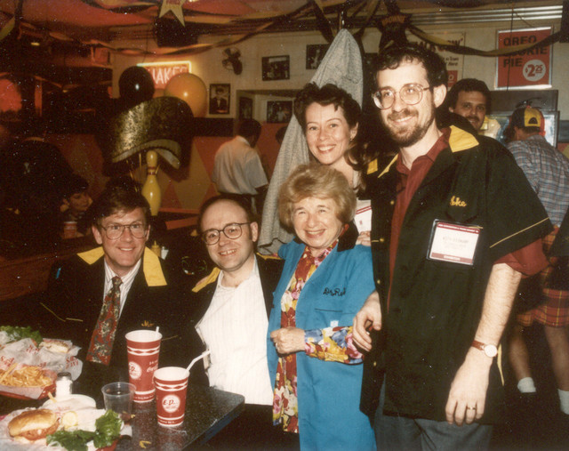 5/95: With Dr. Ruth Westheimer at the launch of her book, Sex for Dummies. My business partner Keith Weiskamp is on the right.