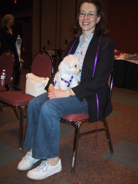 5/6/2005: Carol and QBit at the Bichon Frise Nationals in Indianapolis