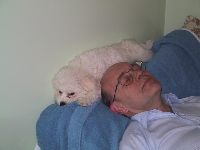 5/16/2005: QBit climbing behind Jeff's head while Jeff is trying to sleep. This proved to be a problem after awhile.