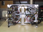 9/2005: My 6T9 stereo amp, almost completed, under-chassis view. Only the tone control pot stills need to be wired.