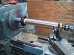 "1/2001: Turning a new 1.75"" bronze declination shaft for the 10"" scope on my lathe."