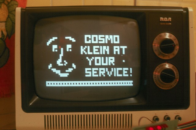10/77: Cosmo's face was animated using a COSMAC VIP single-board computer from RCA that had an innovative low-res graphics system for TV display.