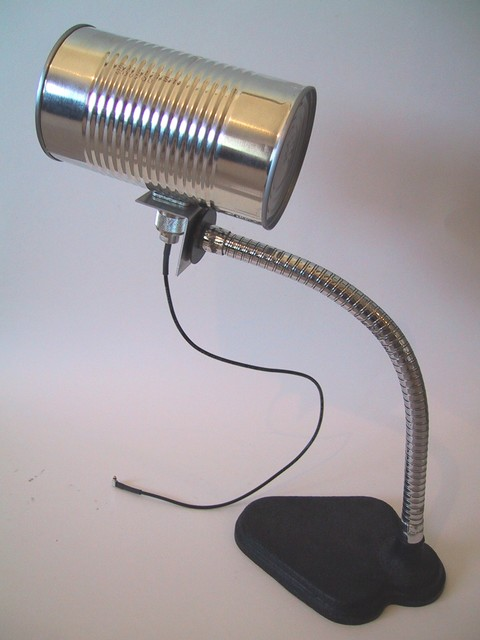 10/2002: The Tin Can Bandwidth Expander, a Wi-Fi directional antenna made from a Hunt's spaghetti sauce can and a goose neck lamp base