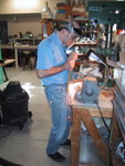 5/2001: Grinding the tang of the equatorial head I built from scrap iron at Lane Tech in 1968.