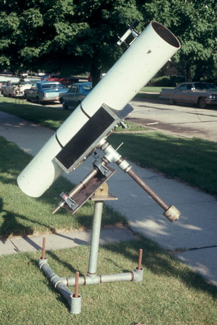 "1968: When I got to Lane Tech in 1966, the astronomy club had a finished 8"" Newtonian tube assembly, but no mount. I designed and coordinated the building of the mount shown here."