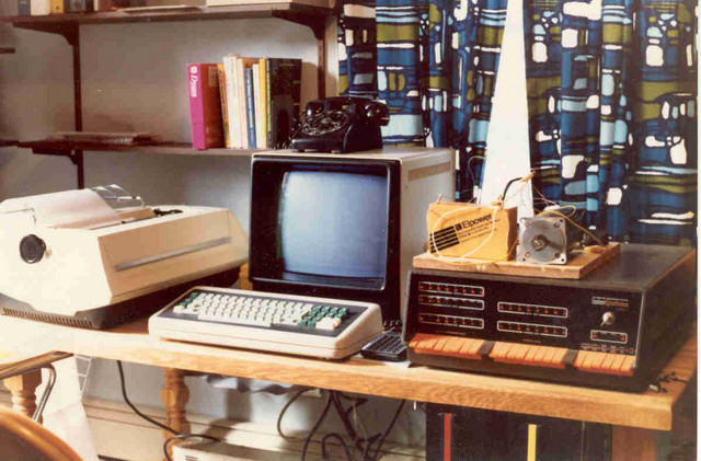 "1979: My first true home computer, an Intersystems DPS-1 S-100 mainframe with a 1 MHz (!!) 8080 CPU, 32K RAM, a pair of DS/DD 8"" diskette drives, and several I/O ports. The large-screen display worked well with WordStar, and the Diablo daisy-wheel printer gave me letter-quality output. The lashup atop the DPS-1 was a stepper motor driven through TO-3 switching transistors from a parallel port on the computer."