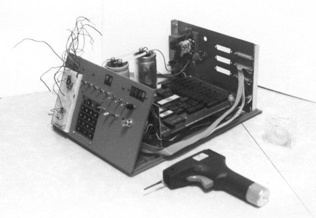 1977: Side view of the COSMAC system. It was all-CMOS, with a keypad and two independent parallel ports. I would have done more with it, but in late 1979 I got an S-100 system and spent my spare-time energy on that instead.