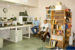 11/95: George Ewing and I in my Arizona garage/workshop/ham shack, which I had designed and recently completed. It was heavily insulated and air conditioned, with a 2&quot; conduit for antenna cabling to the roof, and 220V for my lathe.
