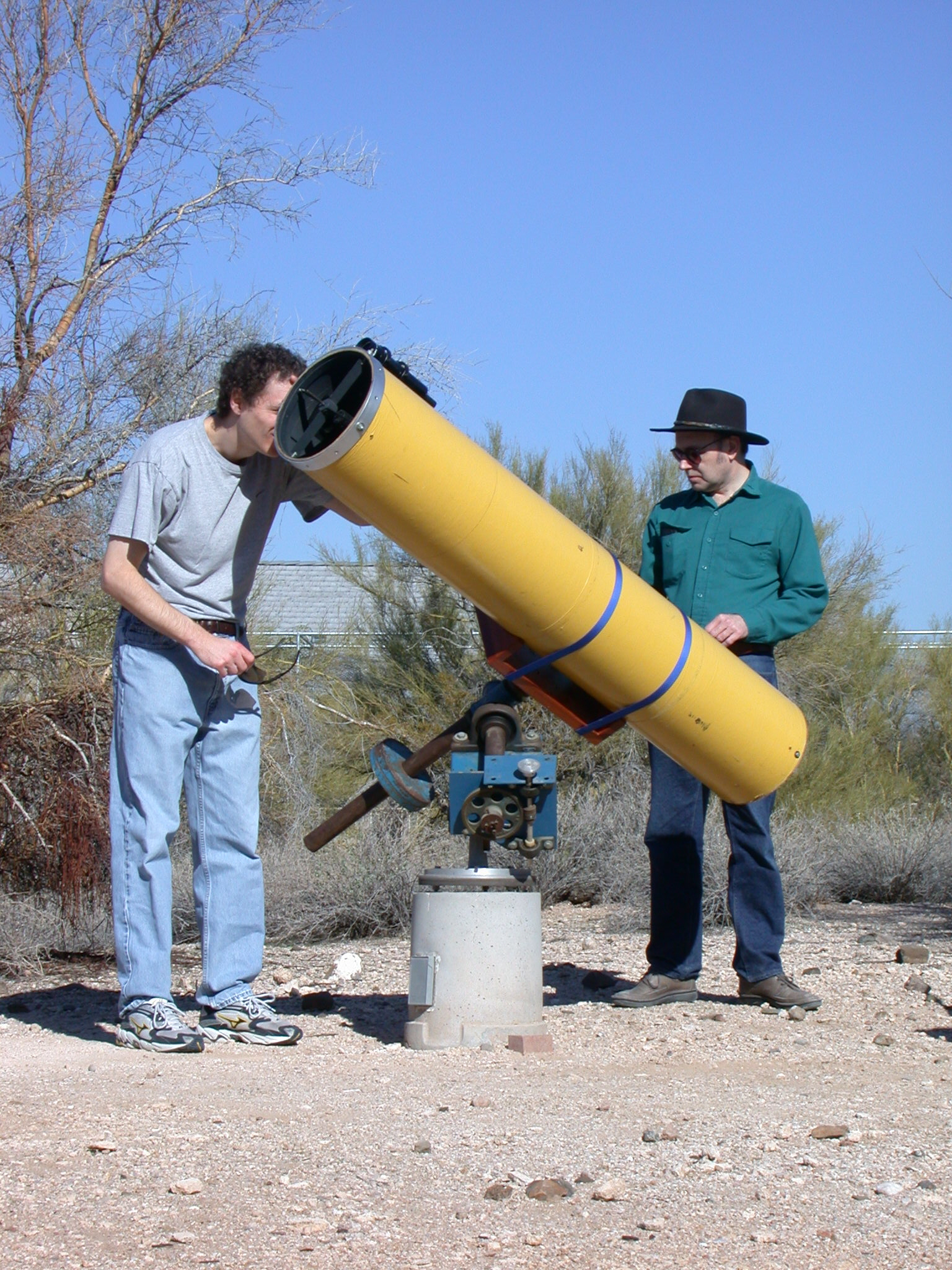 "12/2002: Michael Abrash and I with the 10"" scope."