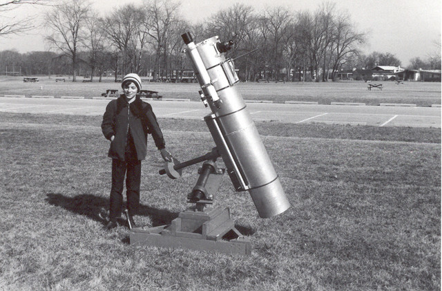 """1970: My 10"""" scope at the same partial solar eclipse outing, with Joe Lill for scale. The scope was barely complete, and needed a lot of tweaking, but the images it brought us were breathtaking."""