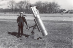 "1970: My 10"" scope at the same partial solar eclipse outing, with Joe Lill for scale. The scope was barely complete, and needed a lot of tweaking, but the images it brought us were breathtaking."