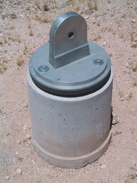 "5/2001: The finished concrete pier for my 10"" scope, in AZ. Pete Albrecht machined the flat face of the vertical tang on his shaper."