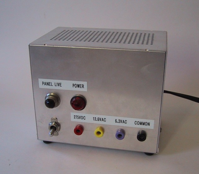 1/2000: The Tinderbox had an outboard 275VDC supply. I began using banana patch cables for power runs in projects about this time, because it made it easier to patch in meters for monitoring voltage and current.