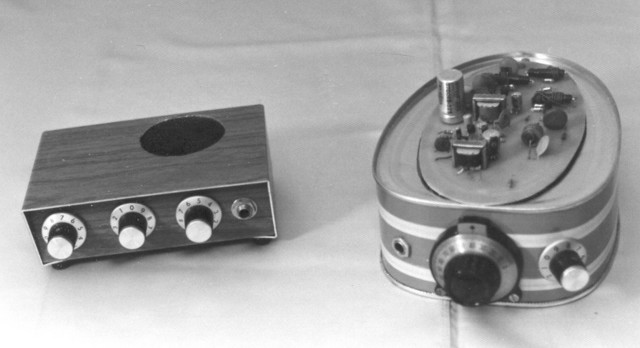 "1977: I built these two ham receivers after a couple of articles in QST. The radio on the left is the 20M ""Africa"" receiver, and the one on the right is the Herring-Aid 5, which I mounted on a canned ham can so it would be a ""ham radio."" The Africa receiver works very well and I still have it; the Herring Aid was a disaster and I scrapped it when we left Rochester in 1985."